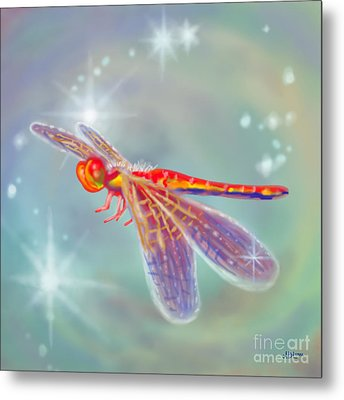 Glowing Dragonfly Metal Print by Audra D Lemke