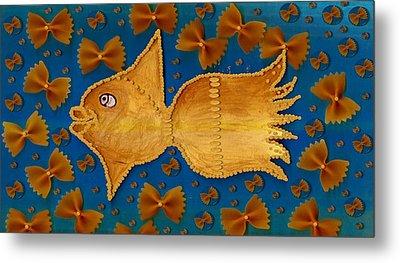 Glowing  Gold Fish Metal Print by Pepita Selles