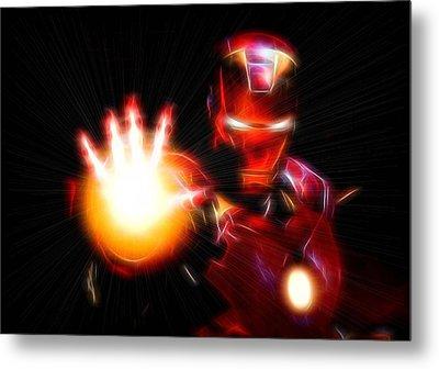 Glowing Iron Man Metal Print