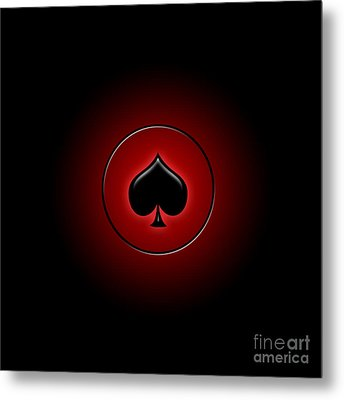 Glowing Spade Card Suit Metal Print by Gaspar Avila