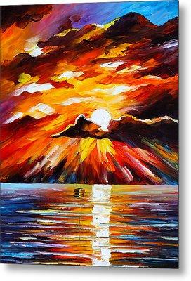Glowing Sun Metal Print by Leonid Afremov