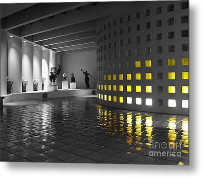 Metal Print featuring the photograph Glowing Wall Color Spash Black And White by Shawn O'Brien