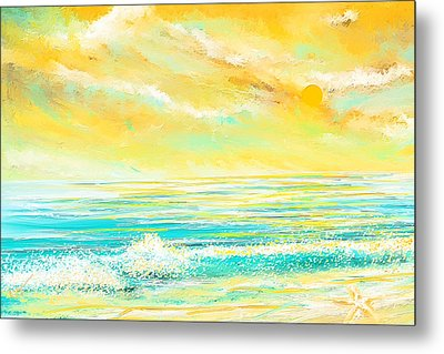 Glowing Waves - Seascapes Sunset Abstract Metal Print by Lourry Legarde