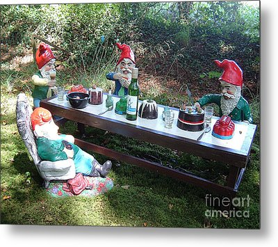 Gnome Cooking Metal Print