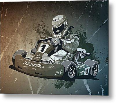Go-kart Racing Grunge Monochrome Metal Print by Frank Ramspott