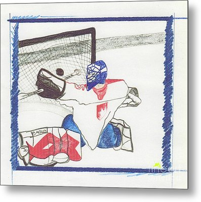 Metal Print featuring the drawing Goalie By Jrr by First Star Art