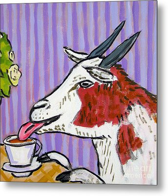 Goat At The Cafe Metal Print by Jay  Schmetz