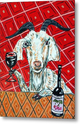 Goat At The Wine Tasting Metal Print by Jay  Schmetz