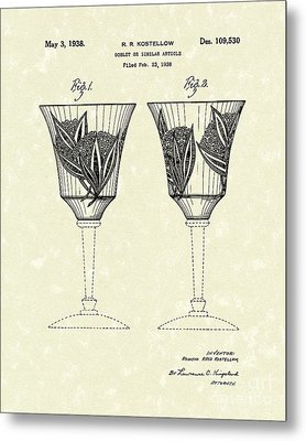 Goblet 1938 Patent Art Metal Print by Prior Art Design