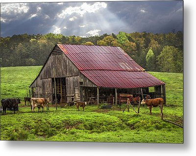 God Bless The Farmer Metal Print by Debra and Dave Vanderlaan