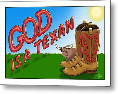 God Is A Texan Metal Print
