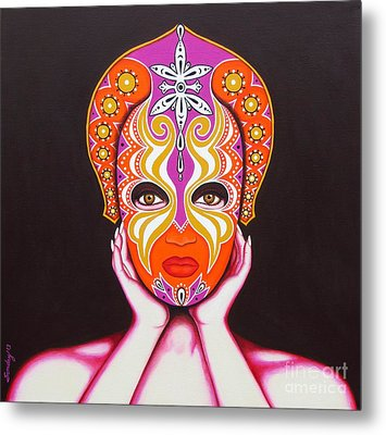 Metal Print featuring the painting Goddess In Pink by Joseph Sonday