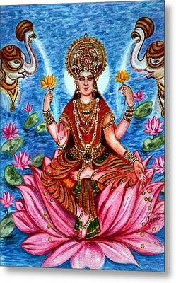 Metal Print featuring the painting Goddess Lakshmi by Harsh Malik