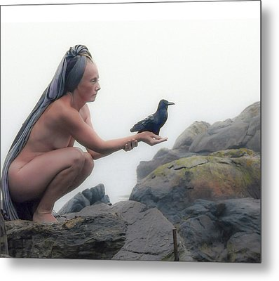 Goddess With Raven Metal Print by Ann Tracy