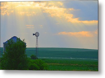 God's Light Over Windmill Metal Print