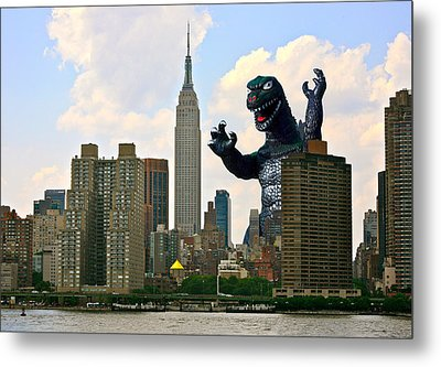 Godzilla And The Empire State Building Metal Print by William Patrick