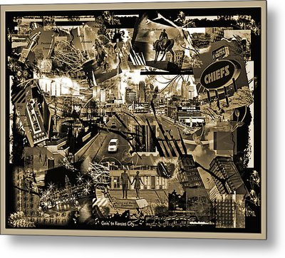Goin' To Kansas City - Grunge Collage Metal Print by Ellen Tully