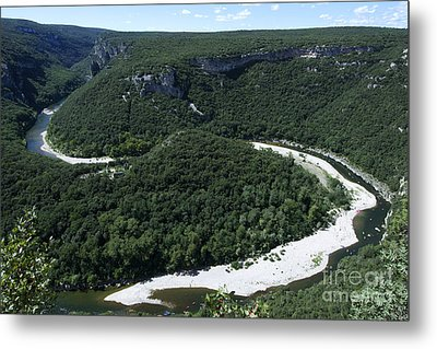 Going Down Ardeche River On Canoe. Ardeche. France Metal Print