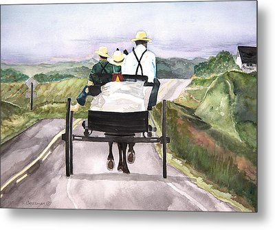 Going Home From Market Metal Print by Susan Crossman Buscho