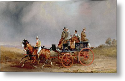 Going Shooting A Postillion And Pair With A Game Cart Metal Print by Charles Cooper Henderson
