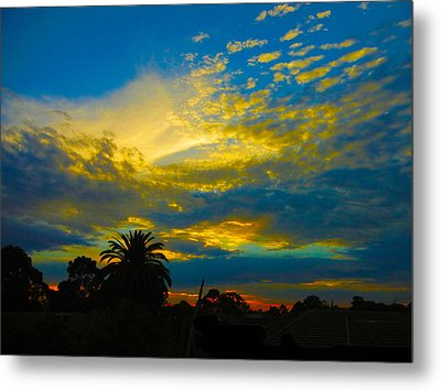 Gold And Blue Sunset Metal Print
