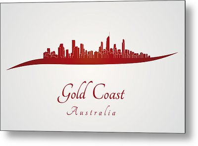 Gold Coast Skyline In Red Metal Print by Pablo Romero