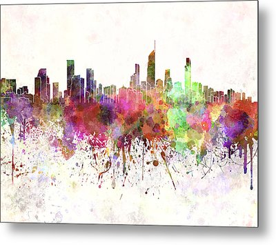 Gold Coast Skyline In Watercolor Background Metal Print by Pablo Romero