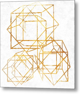 Gold Cubed I Metal Print by South Social Studio
