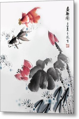 Metal Print featuring the photograph Gold Fish In Lotus Pond by Yufeng Wang