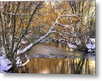 Gold In The Creek B1 - Owens Creek Near Loys Station Covered Bridge - Winter Frederick County Md Metal Print by Michael Mazaika
