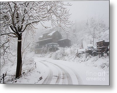 Gold King Mine In Snow Metal Print by Ron Chilston
