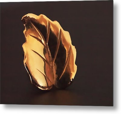Gold Leaf Metal Print by Rona Black