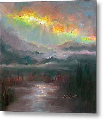 Gold Lining - Chugach Mountain Range En Plein Air Metal Print by Talya Johnson