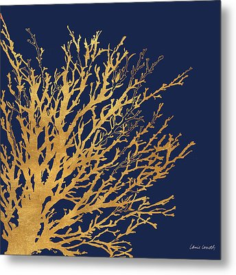 Gold Medley On Navy Metal Print