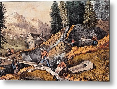 Gold Mining In California Metal Print by Currier and Ives