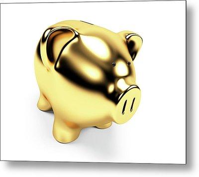 Gold Piggy Bank Metal Print