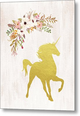 Gold Unicorn Floral Metal Print by Tara Moss
