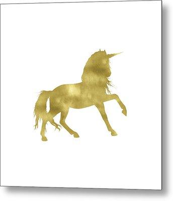 Gold Unicorn Square Metal Print