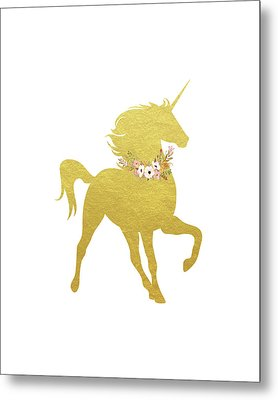 Gold Unicorn Metal Print by Tara Moss