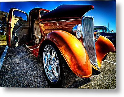 Gold Vintage Car At Car Show Metal Print by Danny Hooks