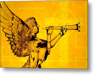 Metal Print featuring the photograph Golden Angel With Cross by Denise Beverly