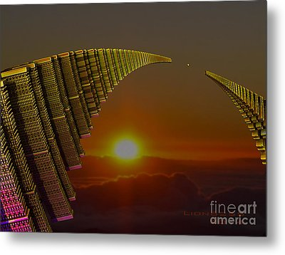 Metal Print featuring the digital art Golden Arches by Melissa Messick