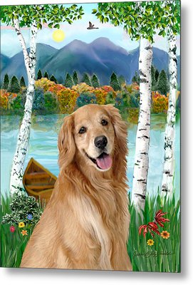 Golden At The Lake Metal Print by Jean B Fitzgerald
