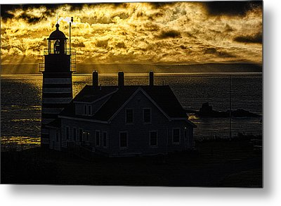 Golden Backlit West Quoddy Head Lighthouse Metal Print by Marty Saccone