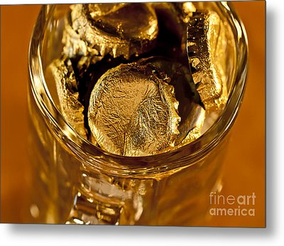Golden Beer  Mug  Metal Print by Wilma  Birdwell