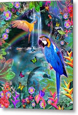 Golden Bluebirds Paradise Version 2 Metal Print by Alixandra Mullins