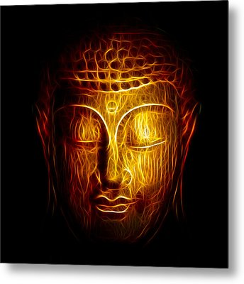 Golden Buddha Abstract Metal Print