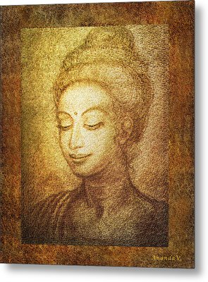 Golden Buddha Metal Print by Ananda Vdovic