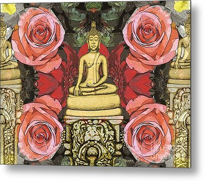 Metal Print featuring the painting Golden Buddha In The Garden by Joseph J Stevens