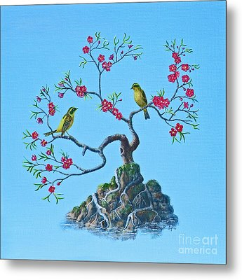 Golden Bush Robins In Old Plum Tree Metal Print